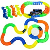 Planet Of Toys Magic 11 Feet Long. Flexible Tracks 220-Piece Glow-in-The-Dark Racetrack With A SUV Car Play Set For Kids, Children.