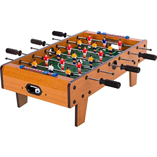 "Maxstore Mini-Tisch-Kicker Tischfussball \""Chelsea\"", helles Holzdekor, Maße: 70x37x25 cm, Gewicht: 4 kg, 6 Spielstangen, inkl. 2 Bälle"