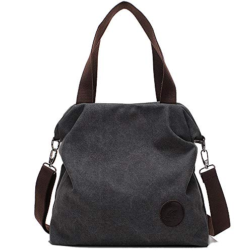 Huttoly Damen Canvas Tasche, Canvas Handtasche Schultertasche Crossbody Bag Tasche Shopper Beuteltasche (Cross Schwarz Body Handtaschen Stoff)