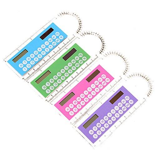 Vi. yo creative 3in 1mini calcolatrice aritmetica plastica righello con calcolatrice e goniometro funzione portatile calcolatrice count cancelleria a scuola ,1pezzi rondam color