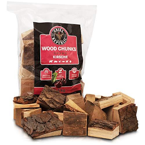 Grill Republic Smoker Chips Kirsche für kräftiges Raucharoma/Wood Chips Sortenrein/Räucherchips mit Premium Qualität - 1,5kg