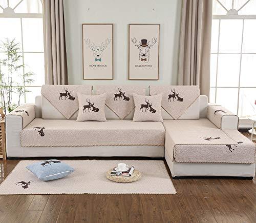 Gh&yy copridivano protettivo fai-da-te per divano rivestimento antiscivolo lavabile tessuto in cotone e lino,70 * 120cm