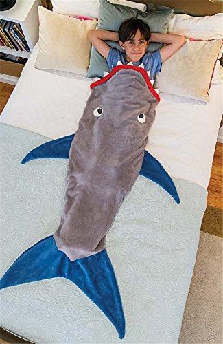 Likeep™ Kinder Meerjungfrau - Decke Schlafsack Kuschelige Flauschedecke und Hai Tagesdecke Blanket (Hai-Grau)