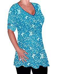 EyeCatch - Aspen Womens Print Blouse Casual V Neck Tunic Ladies Plus Size Flared Long Top