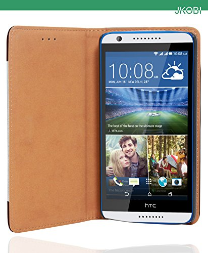 Jkobi Combo Of Branded PU Leather Flip Wallet Case Cover & Sports Series C Shape Earphones Handsfree For HTC Desire 820 / 820G+ Dual Sim -Leather Brown & Silver