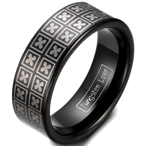 JewelryWe Gioielli moda 8 millimetri suo nero IP carburo di tungsteno fascia di cerimonia nuziale anello di fidanzamento con inciso al laser Four Leaf Clover design meraviglioso
