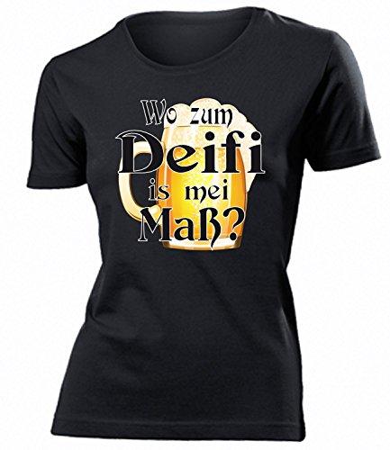 Wo zum Deifi is MEI Maß 4373 Oktoberfest Outfit Artikel Kostüm Tshirt verkleidung Dirndl Wiesn Frauen Damen T-Shirts Schwarz XL