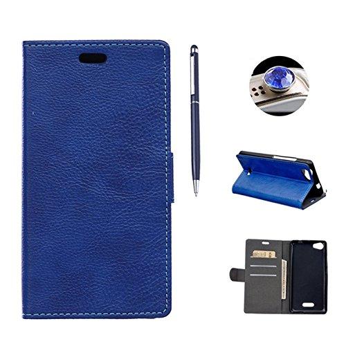 Wiko Pulp Hülle Wiko Pulp Tasche,AyiHuan Lanyard Ledertasche Premium PU Leder Flip Case Folio Tasche Cover mit Standfunktion Karteneinschub Etui für Wiko Pulp 3G/4G 5 Zoll,Blau (Folio Flip 3g)
