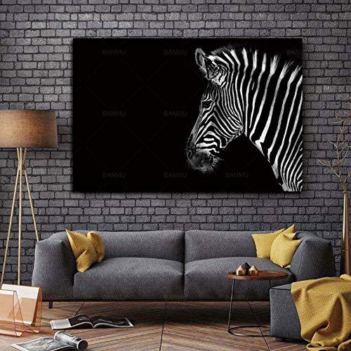 Kopf-wand-hoodie (YIYINGSI Druck Auf Leinwand Tier Für Dekoration Wand Kunst Schwarz-Weiß-Porträt Von Zebra Kopf Schwarzen Hintergrund Malen, Ohne Rahmen, 20 X 30 cm.)