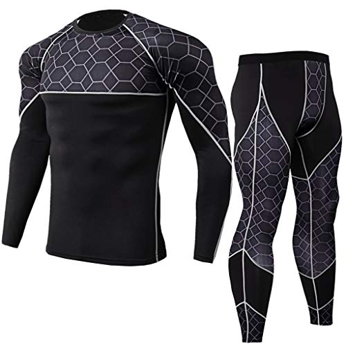 Sportunterwäsche Base Layer Langarm Compression Shirt Hose Kompressions Set Funktionsunterwaesche Set Für Fitness Running (Layer Kapuzen-base Herren)