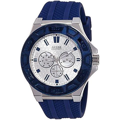 Guess W0674G4 - Reloj con correa de goma, para hombre, color blanco / azul