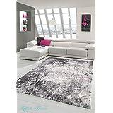 Alfombra diseñador Alfombra moderna de lana Alfombra Heather salón adornos alfombra alfombra en crema gris púrpura Größe 160x230 cm