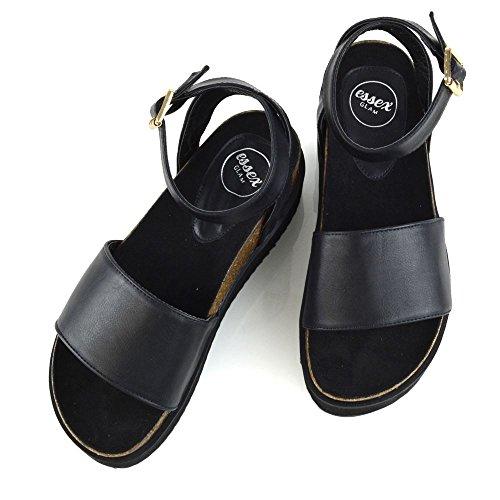 Couro Preto Essex Verão Sandálias Sapatos Kailabsatz Senhoras Tira Metálica De Tornozelo De Toe Plataforma Glam No Peep qawq1WFrZx