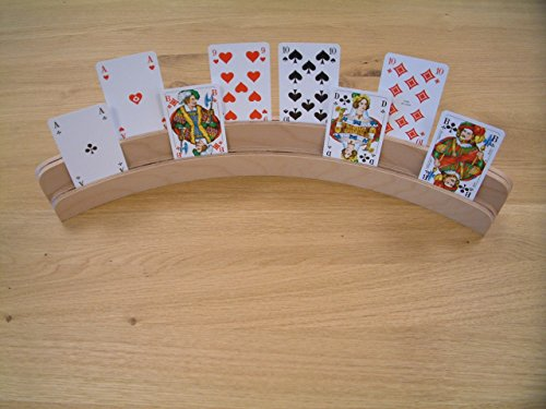Kartenhalter mit 2 Stufen aus unbehandeltem Buchenholz / Doppelkartenhalter / halbrund/ Länge: 50 cm