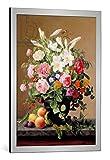 kunst für alle Bild mit Bilder-Rahmen: V. Hoier Still Life with Flowers and Fruit - Dekorativer Kunstdruck, Hochwertig gerahmt, 55x75 cm, Silber Gebürstet