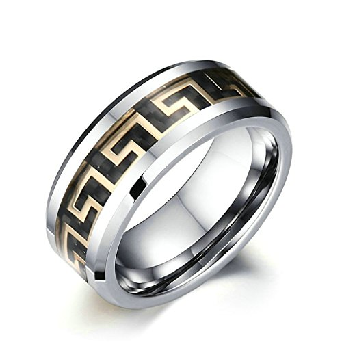 Gnzoe 8mm Tungsteno Steel Nero Carbonio Fiber Oro Fidanzamento Matrimonio Anello Dimensioni 20