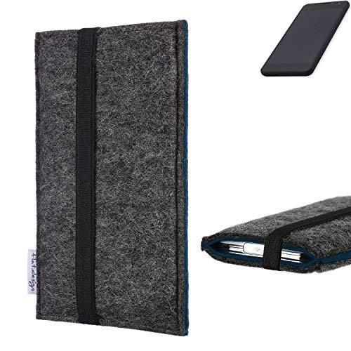flat.design Handyhülle Lagoa für Shift Shift5.3 | Farbe: anthrazit/blau | Smartphone-Tasche aus Filz | Handy Schutzhülle| Handytasche Made in Germany