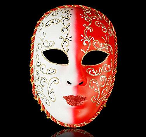 chenyu Römische griechische Venezianische Masken Maskenball-Maske Halloween Kostüm Kleid Ball Party Dekoration Supplies Maske Clown Yin Yang Maske mit Persönlichkeit rot