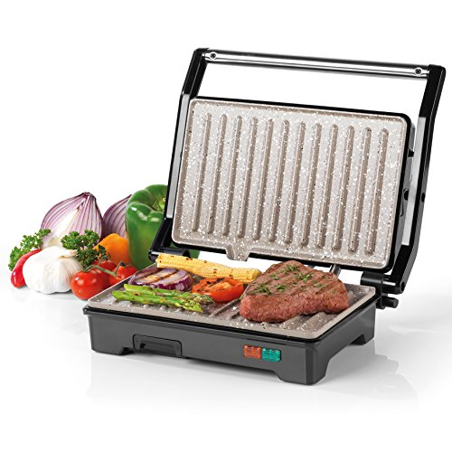 Salter EK2384 Marble Collection 2 in 1 Fold-Out Health Grill, Panini Grill and Sandwich Press, Stainless Steel