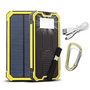 15000 mAh Dual USB caricatore solare portatile Backup Power Bank Pannello Solare Impermeabile Antiurto caricatore con LED luce di emergenza per iPhone, Samsung, HTC e altri smartphone(Giallo)