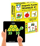 New and Improved Magnetic Puzzles : Triangles (Includes 200 colorful magnets + 100 puzzles + magnetic board + display stand)