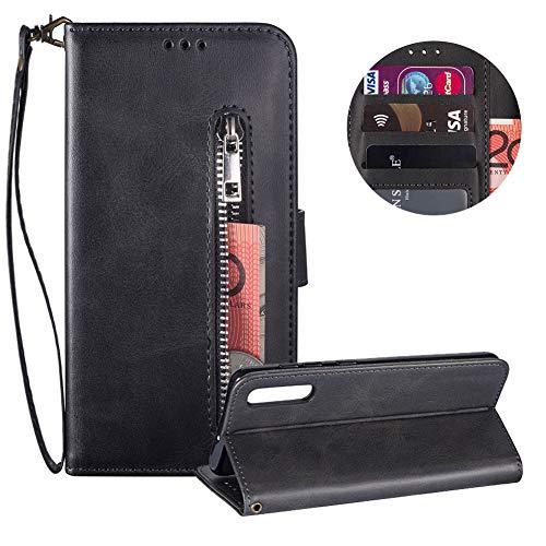 Reißverschluss Brieftasche für Samsung Galaxy A7 2018,Gurt Wallet Handyhülle für Samsung Galaxy A7 2018,Moiky Klassisch Schwarz Solide Farbe Klappbar Stand Leder Handytasche -