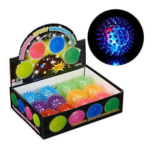 ll, 12er Set, mit Noppen, leuchtender Flummi, für Massage & Spiel, Massageball, verschiedene Farben ()