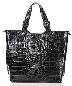 italienische Damen Handtasche Lima aus echtem Leder in schwarz, Made in Italy, Shopper 31x30 cm