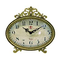 NIKKY HOME Vintage Table Quartz Analog Clock for Home Decoration 16.5 x5.5 x 15.5cm, Metal Gold
