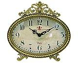 NIKKY HOME Horloge de table avec Vintage Design Quartz analogique bureau et étagère pour Salon Salle de bain Décoration Métal Or