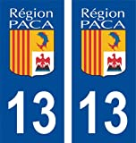 ADP Adhésifs 2 Autocollants pour Plaque d'immatriculation département 13 Bouches du Rhône