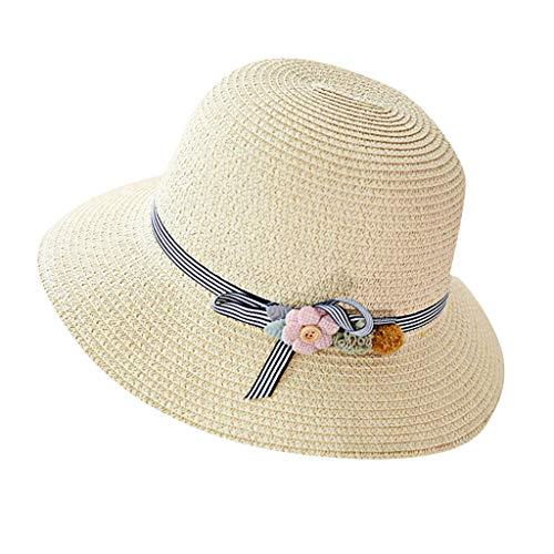 RYTEJFES Sombrero Paja Verano Retro Mujeres Sombrero Plegable Nudo De Arco UPF 50+ Anti-UV Pescador Sombrero Transpirable Sol Gorras Viseras Sombrero De Pesca para Vacaciones