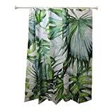 Blau Grün Duschvorhänge Wasserdicht, Bananenblatt Badezimmervorhang mit 12 Gardinenringen