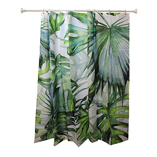 Blau Grün Duschvorhänge Wasserdicht, Bananenblatt Badezimmervorhang mit 12 Gardinenringen (Duschvorhänge Badezimmer Teal)