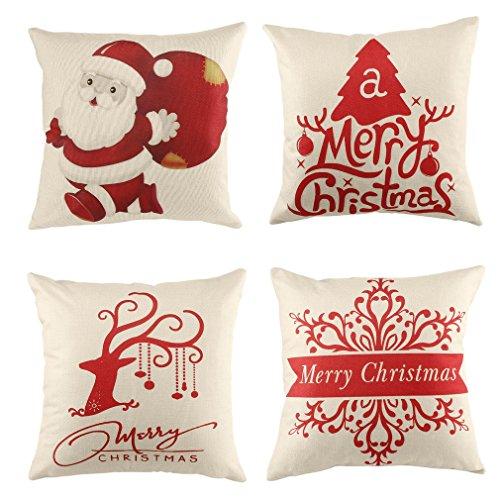 U-Kiss Christmas Guanciale, 4 Pezzi in Tessuto Divano Decorativo Copertura Del Cuscino Casa Decorativo Cuscino Di 43,2 x 43,2cm Cuscino Custodia per Divano/Divano/Letto - Elk