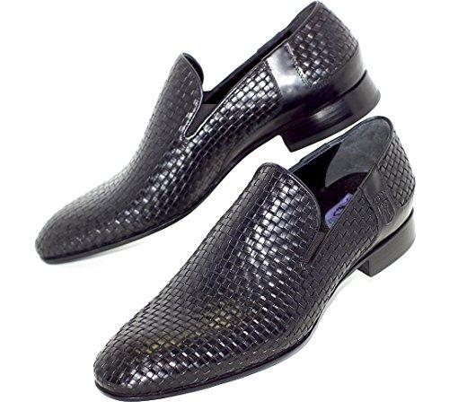 Scarpe da uomo, Loafers , mocassini, eleganti, di pelle intrecciato Nero