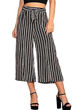 Pantaloni Estivi Donna Eleganti Vintage Classico A Righe Semplice Glamorous Moda Casual Vita Alta 3/4 Pantaloni...