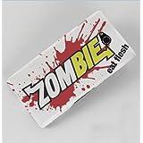 Etui de créateur pour Sony Xperia M2 - Etui / Coque / Housse de protection blanc en Plastique Rigide (arrière rigide) avec motif Zombie Eat Flesh (blanc et rouge)