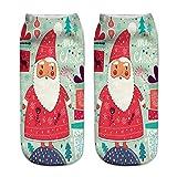 XuxMim 3D gedruckte Weihnachtsfrauen-beiläufige Socken Nette Unisex-niedrige Schnitt-Knöchelsocken 4 Paare