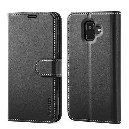 Mulbess Samsung Galaxy A6 2018 Hülle, Premium Handy Schutzhülle Ledertasche im Kartenfach für Samsung Galaxy A6 2018 Tasche Hülle Leder Etui Schale,Schwarz (Business Style)