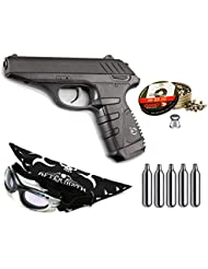 Pack pistola Perdigón Gamo P-25 Blowback. Calibre 4,5mm. Potencia 2 Julios + Gafas antivaho + Pañuelo cabeza decorado, + Balines + Bombonas co2