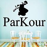 yaoxingfu Parkour Stickers Muraux Décoration Nordique Style Décoration À La Maison Imperméable Sticker Accueil Accessoires Muursticker Noir30 cm X 49 cm