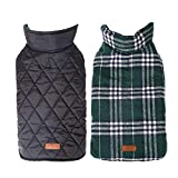 UPHAN Warm Dog clothes Jackets for small medium large dogs Outdoor Indoor Activities- Dog Cold Weather Coats - Waterproof Windproof Reversible British Style Plaid Dog Vest Winter Coat - Green - L