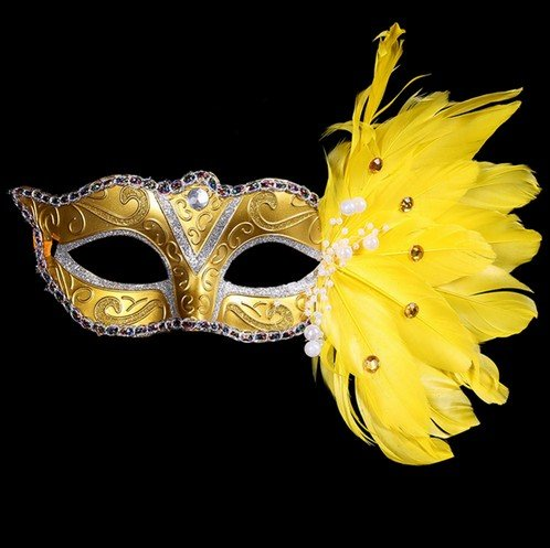 GaDa Venezianische Damen Herren Maske Augenmaske Gesichtsmaske Maskenball Party Karneval (gelb)