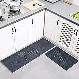 Levoberg Tapis de Cuisine Devant Evier 2 Pièces Tapis Cuisine Antidérapant Absorbent Lavable en Machine 40 * 60+40 * 120cm #1