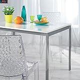 DecorLine Nappe Cristal Imprimé Paillettes PVC Argent 140 x 240 cm
