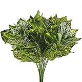 MIHOUNION Kunstpflanzen 4Pcs Künstliche Pflanzen Groß 5 Gabel Grün Fake Reiches Blatt Deko Pflanzen Simulation Pflanze Balkonpflanzen für Büro Wand Zuhause
