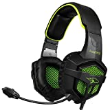 EasySMX PS4 Gaming Headset Comfortable Stereo Wired Headphones with Mic Noise Cancellation and In-Line Controller for PS4, PC, Laptop, Tablets, and all Smartphones, A Microsoft Adapter is Needed if for Xbox One --- Black and Green