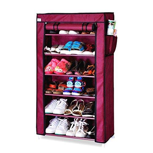 Ducomi® scarpiera armadio cabina guardaroba in acciaio e tessuto (m - 6 ripiani, red)