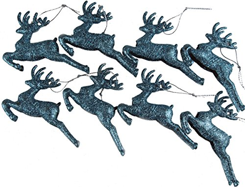 Weihnachtsbaumschmuck-Set, Rentier-Design, glitzernd, Eisblau, 8 Stück